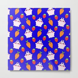 Cute funny Kawaii pink little baby bunnies, happy orange carrots and ripe juicy summer strawberries adorable midnight blue navy fruity pattern design. Nursery decor ideas. Metal Print
