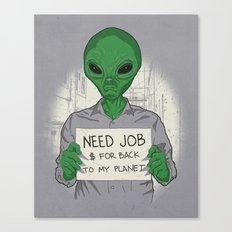 Jobless On Earth Canvas Print