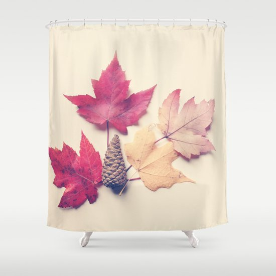 Red Maple Leaf Collection Shower Curtain