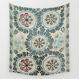Ferghana Suzani  Antique North East Uzbekistan Embroidery Wall Tapestry