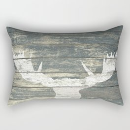 Rustic White Moose Silhouette A424a Rectangular Pillow