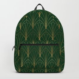 Art Deco Waterfalls // Green & Gold Backpack