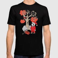 SANTA'S RED BIRD LARGE Black Mens Fitted Tee