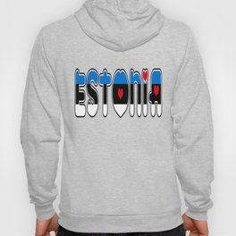 Estonia Font with Estonian Flag Hoody