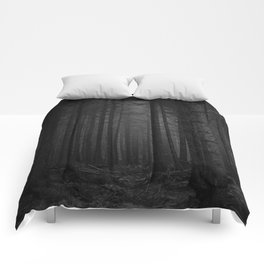The Dense & Foggy Forest (Black and White) Comforters