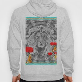 Lion Geometric Floral Contrast Print Hoody