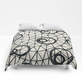 Black and White Circular Pattern Abstract Geometric Art Print Photograph Comforters