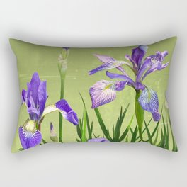 Wild Blue Flag Irises Rectangular Pillow