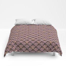 Art Deco Fan Pattern, Pastel Peach on Black Comforters
