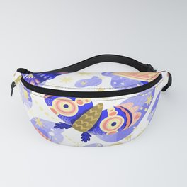 Abstract watercolor lilac navy blue gold butterflies Fanny Pack
