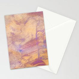 Abstract watercolour painting. Purple spots of paint, streaks, drip, splashes on a yellow background Stationery Cards