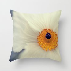 White Argemone Flower Photograph Throw Pillow
