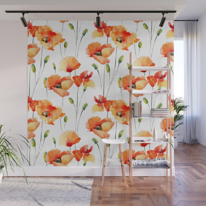 Hand Painted Orange Yellow Watercolor Poppies Floral Wall Mural By