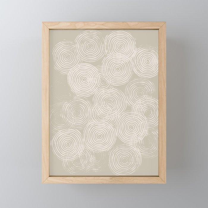 Radial Block Print in Tan Framed Mini Art Print