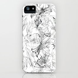 lily sketch black and white pattern iPhone Case