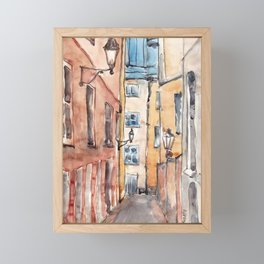 Street in Italy. Watercolor illustration Framed Mini Art Print