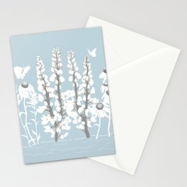 Wildflowers In White on Blue/Grey Background Stationery Cards