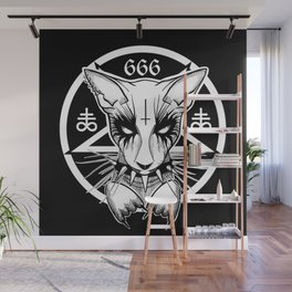 Black Metal Cat Wall Mural