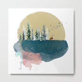 Watercolour forest on the moon Metal Print