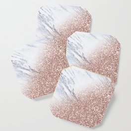 Blush Pink Sparkles on White and Gray Marble V Coaster