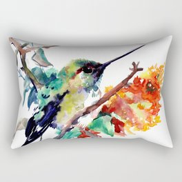 Hummingbird and Orange Flowers, tropical Olive green Rectangular Pillow