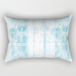 Light Blue Tie-Dye Plaid Rectangular Pillow