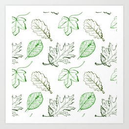 Leaves (greens) Art Print