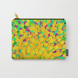 SPRING SPLASH - Bright Cheerful Lime Sunshine Yellow Lavender Lilac Purple Ocean Beach Waves Carry-All Pouch