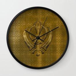 Vintage metal gold Khanda symbol Wall Clock