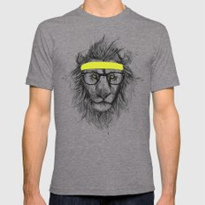 hipster lion Mens Fitted Tee MEDIUM Tri-Grey