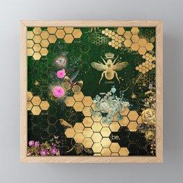 French chic, victorian,bee,floral,gold foil, belle epoque,art nouveau, green foil, elegant chic coll Framed Mini Art Print