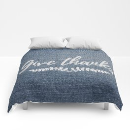 Give Thanks on Denim Comforters