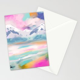 Abstract- landscape- pink, teal and orange Stationery Cards