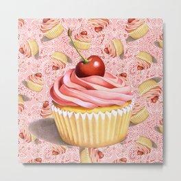 Pink Paisley Cupcake Twirling Metal Print