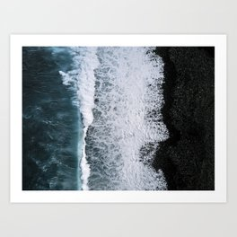 Aerial of a Black Sand Beach with Waves - Oceanscape Art Print