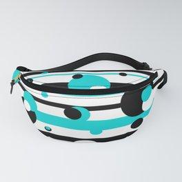 Floating Geometric Aqua Black Balls Fanny Pack