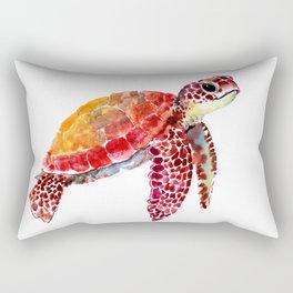 Baby Turtle decor, nursery art decor children room orange red Rectangular Pillow