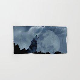 Wolf howling at full moon Hand & Bath Towel