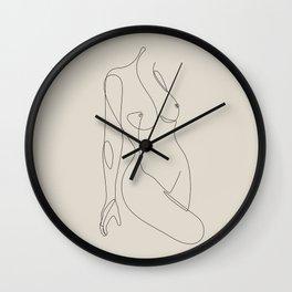 Single Nude - Beige Wall Clock