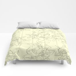 yellow line art floral pattern Comforters