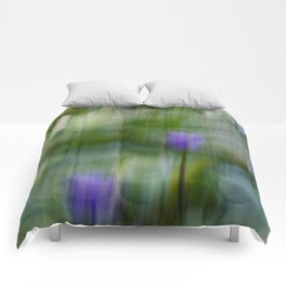 Tropical Impressionism (Purple Water Lily) Comforters