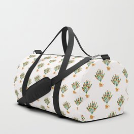 Whimsical travelers palm with tiger Duffle Bag