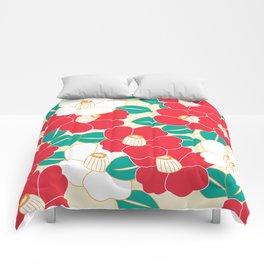 Shades of Tsubaki - Red & White Comforters