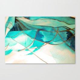 Teal on Silk Canvas Print