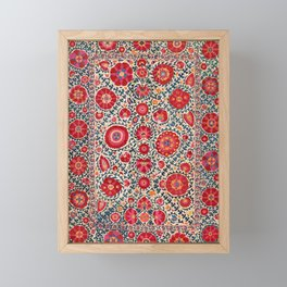 Kermina Suzani Uzbekistan Embroidery Print Framed Mini Art Print