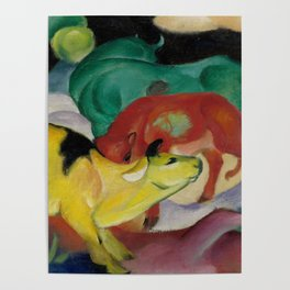 """Franz Marc """"Cows, Yellow-Red-Green"""" Poster"""