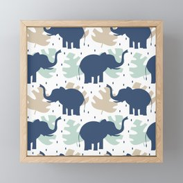 cute pattern background illustration with elephants and tropical exotic leaves Framed Mini Art Print