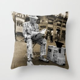 Newspaper Man Throw Pillow