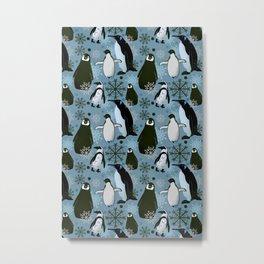 Snowy Penguins - Teal Metal Print
