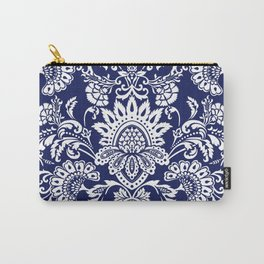 damask in white and blue Carry-All Pouch